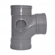 110mm Solvent Grey Tee 92.5 degree Triple Socket