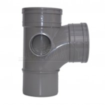 110mm Solvent Grey Tee 92.5 degree Double Socket
