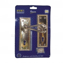 Georgian Brass Lever Scrolled LOCKING Door Handles Pair