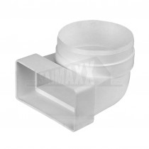 Rectangular Ducting 100mm Flat Channel Elbow to Round Female Socket