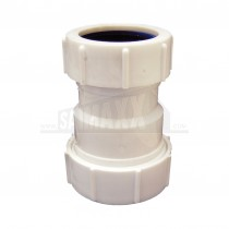 "Compression Waste COUPLING REDUCER White 1.5""x1.25"" (Nut BOTH Sides)"