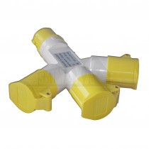 PowerMaster 110v Multi Socket Yellow 3-Way SPLITTER