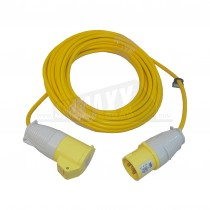 Yellow 110v Trailing Extension Lead 16amp 14m (1.5mm Cable)