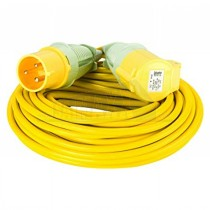 Yellow 110v Trailing Extension Lead 32amp 14m (2.5mm Cable) >