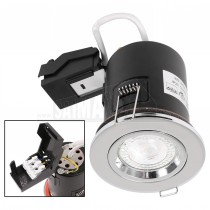 Eclipse 90 Min Fire Rated GU10 FIXED Downlight BRUSHED Chrome (Die Cast)