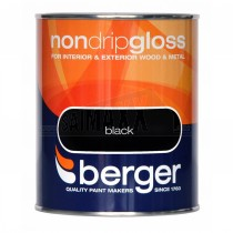 Berger Non Drip Gloss Paint Black 250ml