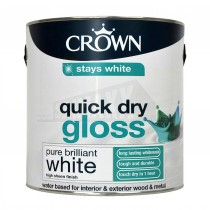 Crown Quick Dry GLOSS Finish Paint White 2.5L