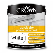 Crown QUICK DRY Undercoat Paint Pure Brilliant White 2.5L