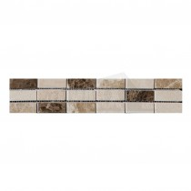 Elgin 305x50mm CREAM & BROWN Polished Marble Border Strip (6 per box)