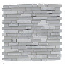 White Linear Glass & Stone Mix Mosaic Sheet 305x305mm