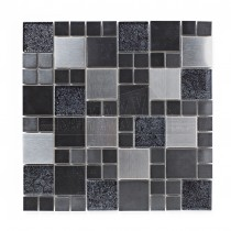 Metal & Foil Glass Black Mix Mosaic Sheet 298x298mm