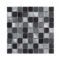 Silver Metal & Glass Mix Mosaic Sheet 305x305mm