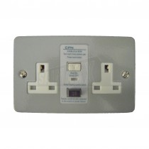 RCD 2g 13amp Twin Switched Double Socket Metal Clad
