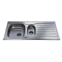 CDA Kitchen Sink Stainless Steel One & a Half Bowl 1 Tap Hole & Waste Kit KA22SS