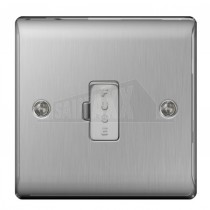 BG Nexus Brushed Steel Grey Inserts 13A Fused UNSWITCHED Conn Unit No Neon