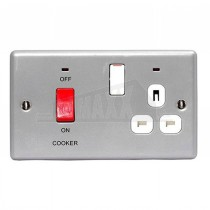 BG Nexus Brushed Steel Grey Inserts 45Amp DP Switch with 13A Socket & Neon