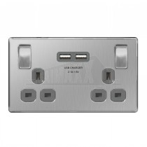 BG Nexus Brushed Steel Grey Inserts 2 Gang 3.1a USB Switched Double Socket