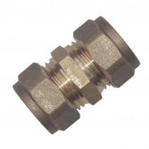 Compression Brass Straight Coupling 15mm