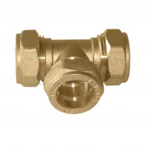 Compression Brass Equal Tee 22mm