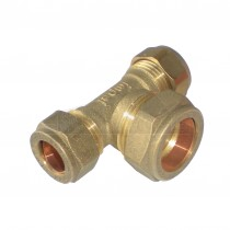 Compression Brass Reducing Tee 15mm x 15mm x 22mm