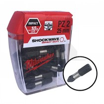 Milwaukee Shockwave Impact Duty Screwdriver Bits PZ2 25mm 25pc