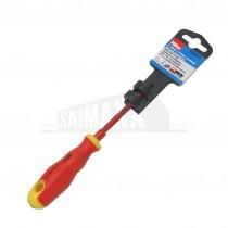 "Hilka 3"" (75mm x 3.0mm) Insulated Soft Grip Screwdriver (SLOTTED) VDE 1000v"